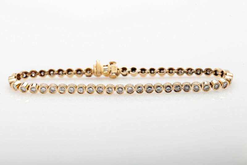 Designer $10,000 5ct Vs G Diamond Bezel Set 18k Yellow Gold Tennis Bracelet