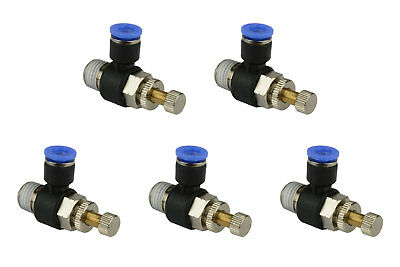 5x Temco Pneumatic Speed Flow Control Valve Elbow 14 Od Air Push In Fitting