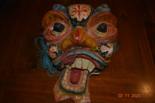 Traditional Japanese Paper Mache ANTIQUE Oni Mask Vintage Folk Art