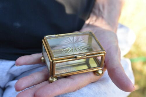 Hinged Lid Trinket/Pill Boxetched glass and brass jewelry box