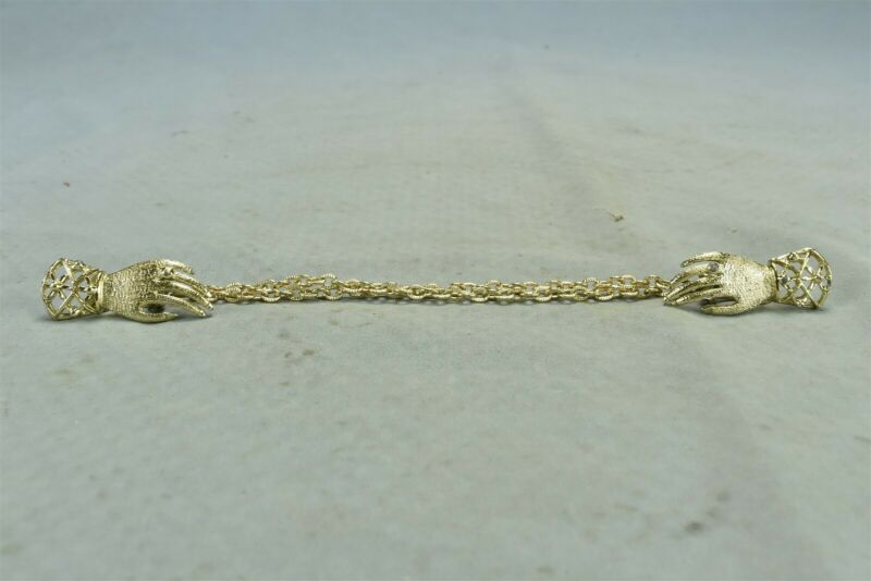Vintage GOLD TONE SWEATER GUARD 2 HANDS with RINGS DOUBLE CHAIN CLIP ON #02134