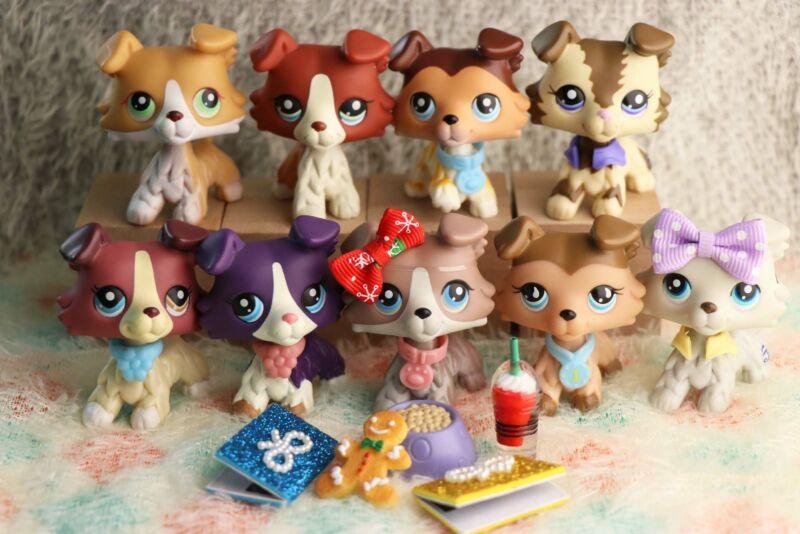 9LOT Authentic Littlest Pet Shop LPS Collie 893 58 1676 67 363 1262 #2210 272