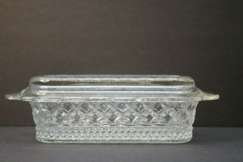 Butter Dish Anchor Hocking Wexford Crystal Clear Glass  With Lid Vintage