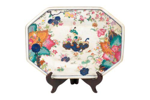 "Oriental Tobacco Leaf Pattern Porcelain Hexagonal Tray 14"" x 10.5"""