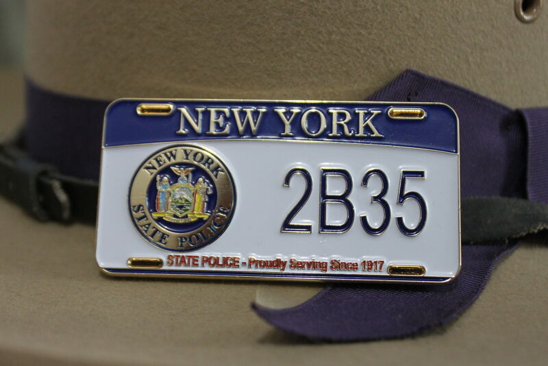 New York State Police 100th Anniversary License Plate Coin full color