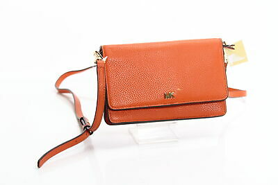 Michael Kors Handbag Burnt Orange Gold Mott Phone Crossbody Leather $128- #059