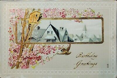 Beautiful Home Scene Inset Birthday Greeting Postcard