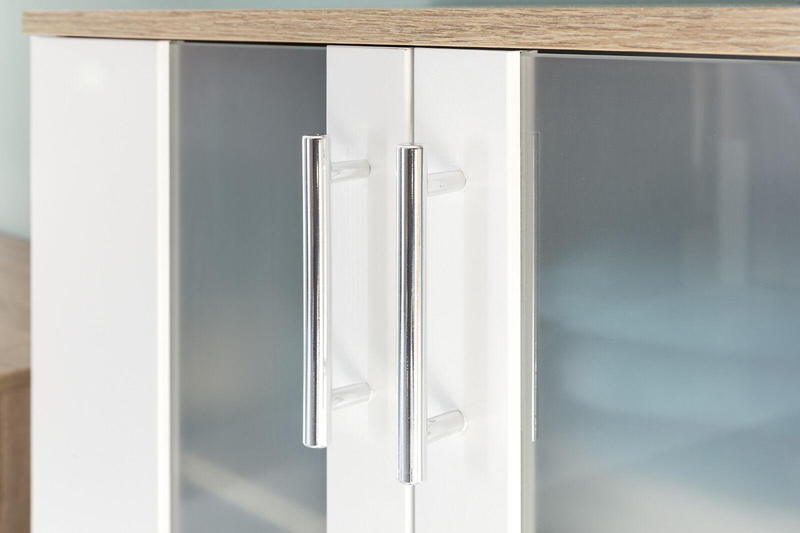 badschrank hochschrank wei eiche s gerau 2 t rig badm bel glas satiniert porto eur 129 00. Black Bedroom Furniture Sets. Home Design Ideas