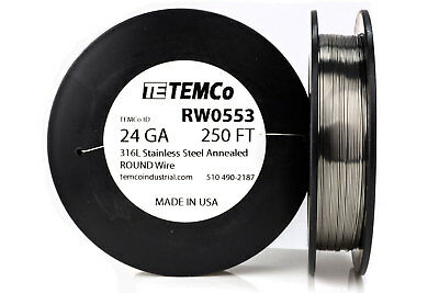 Temco Stainless Steel Wire Ss 316l - 24 Gauge 250 Ft Non-resistance Awg Ga