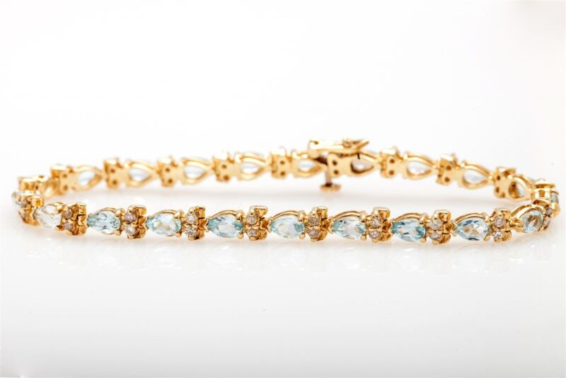 Estate $7000 15ct Natural Aquamarine Diamond 14k Yellow Gold Tennis Bracelet