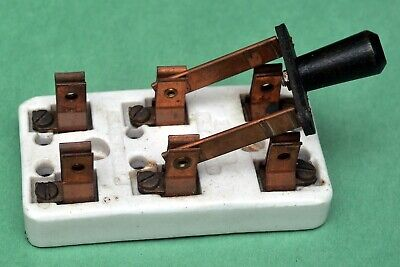 Vtge Steampunk Dpdt Double Pole Double Throw Leviton Knife Switch Copper Blades