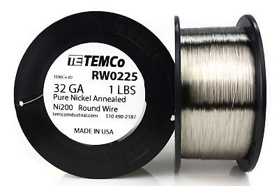 Temco Pure Nickel Wire 32 Gauge 1 Lb Non Resistance Awg Ni200 Nickel 200ga