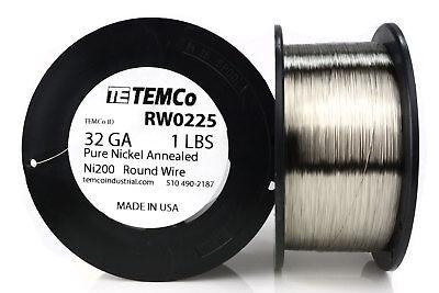Temco Pure Nickel Wire 32 Gauge 1 Lb Non Resistance Awg Ni200 Nickel 200ga
