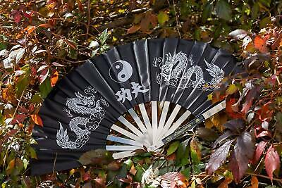 "25.25"" Martial Arts Black Kung Fu Fighting Fan w/ Dragons & Tai Chi Symbol + Nyl"