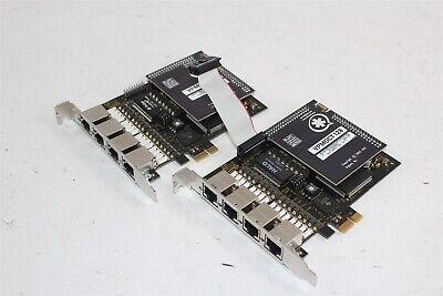 2 Digium Asterik Te420 4-port T1e1 Card W Vpmoct128 Echo Cancellation Module