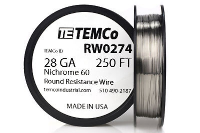 Temco Nichrome 60 Series Wire 28 Gauge 250 Ft Resistance Awg Ga