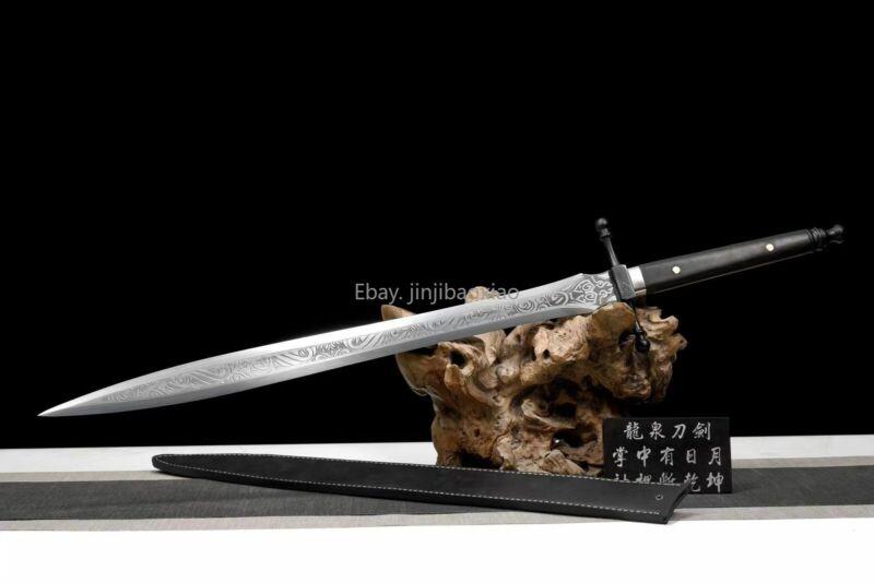 Warrior Sword WuShu Dao HighSpeed Steel Ebony Handle Leather Sheath OutdoorKnife