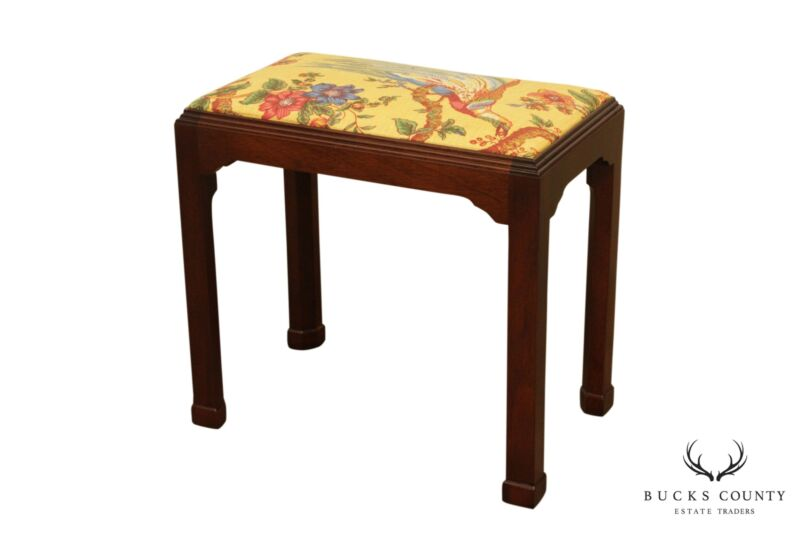 Madison Square Chippendale Style Solid Mahogany Stool