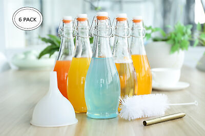 Mockins Set of 6 | 17 Oz Glass Bottle Set with Swing Top Stoppers
