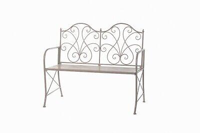 Panchina in ferro lavorato grigio chiaro shabby 2 Posti Panca da giardino Nuova