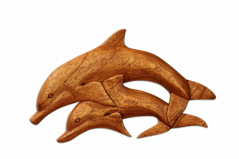 Wooden Hand Carved 2 Dolphins Wall Decor Plaque Hanging Sculpture Handmade Wood