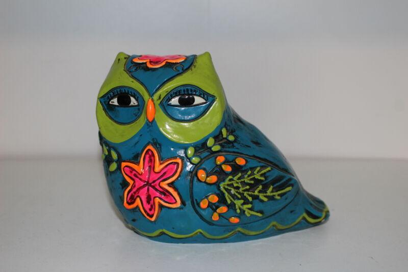 VINTAGE HAND PAINTED MEXICAN FOLK ART OWL PIGGY BANK