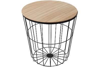 Beistelltisch mit Metall Gestell und Holzplatte rund schwarz Telefon Nacht Tisch ()