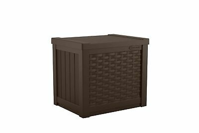 Suncast SSW500J Small Resin Wicker 22 Gallon Outdoor Patio Storage Box, Java Suncast Resin Storage