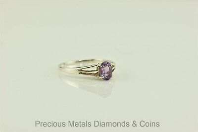 Sterling Silver 1ct Oval Amethyst Solitaire Triple Split Band Ring 925 Sz: 8.5 1 Ct Amethyst Solitaire
