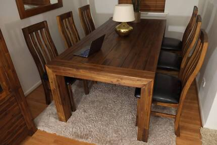 Modern Hardwood Sorrento Style Dining Table - Brand New