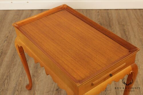 Hand Crafted Vintage Light Mahogany Queen Anne Style Tea Table - $595.00
