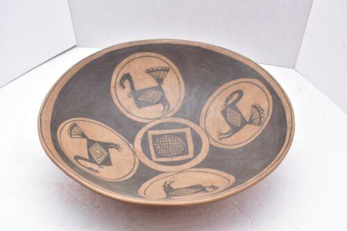 """Vintage native American Santo Domingo Pictorial Mimbres Design Turkey Bowl 13"""""""