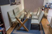 Glass + American Oak table with 6 chairs Epping Ryde Area Preview