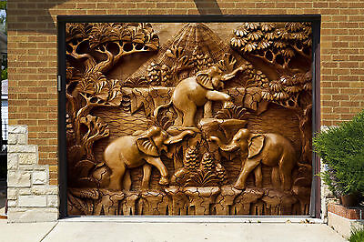 (3D Wood Elephants Garage Door Murals Wall Print Decal Wall Deco AJ WALLPAPER IE)