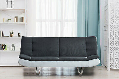 Fabric Sofa Bed 3 Seater With Faux Leather - Charcoal Grey & White, Chrome Legs