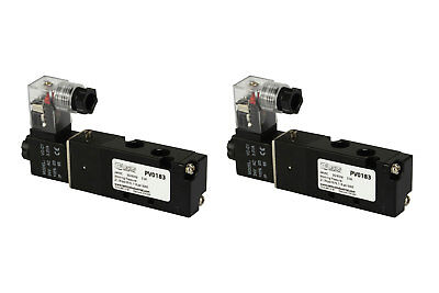 2x 24v Ac Solenoid Air Pneumatic Control Valve 5 Port 4 Way 2 Position 18 Npt