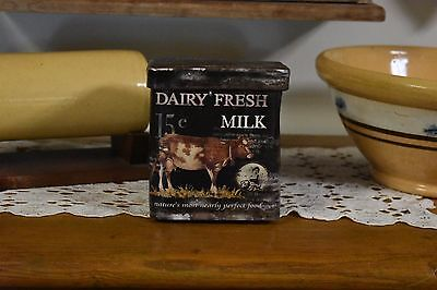 NEW PRIMITIVE COUNTRY FARMHOUSE DAIRY FRESH MILK CANISTER HOME DECOR