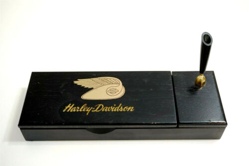 HARLEY DAVIDSON PEN HOLDER WITH TRINKET BOX ~ WOOD ~ FLYING TANK LOGO HALLMARK