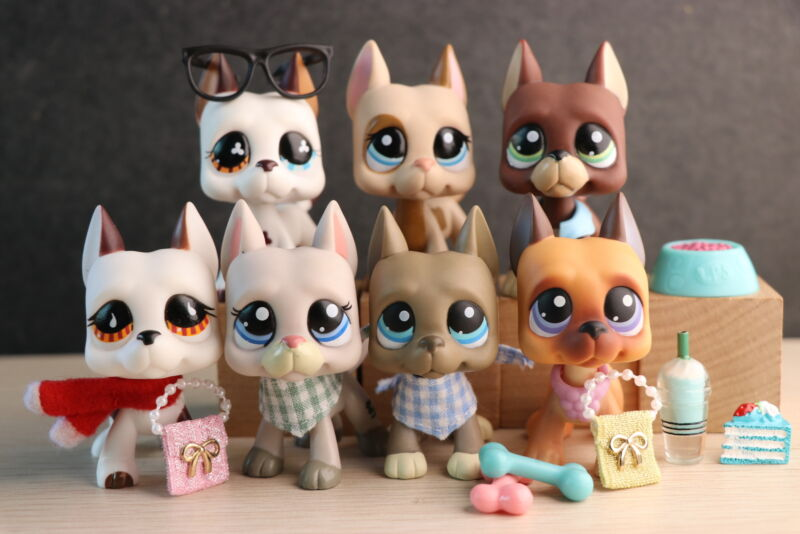 7 Lot Littlest Pet Shop LPS Great Dane Dog Collectable With Accessories lot Rare