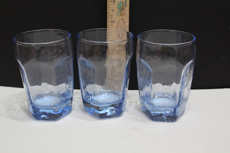 Libbey Chivalry Light  Blue Juice Glasses  (3) VTG Rare Collectible