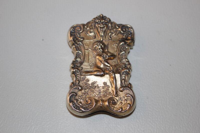 ANTIQUE GORHAM STERLING SILVER VESTA MATCH CASE-ART NOUVEAU CHERUB-GOLD WASH