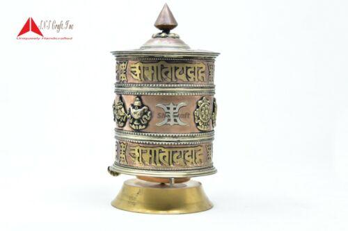 "10""Table Top Copper BrassTibetan Buddhist 8 Lucky Symbols Prayer Wheel hand made"
