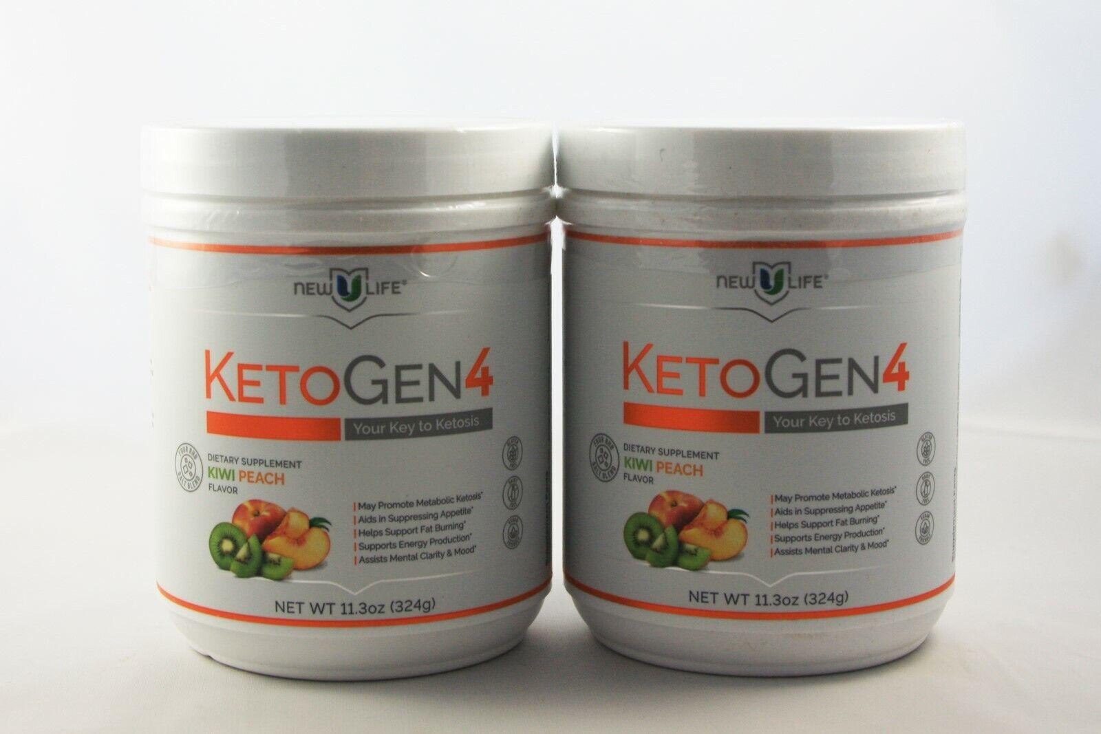 NewULife New U Life KETOGEN4 Kiwi Peach Flavor Keto Ketosis 2-PACK
