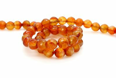 Natural Carnelian Faceted Round Sphere Ball Loose Gemstone Beads Stones