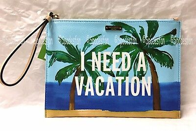 Kate Spade PWRU5048 Breath Of Fresh Air Vacation Med Bella Pouch BLUE Multi -