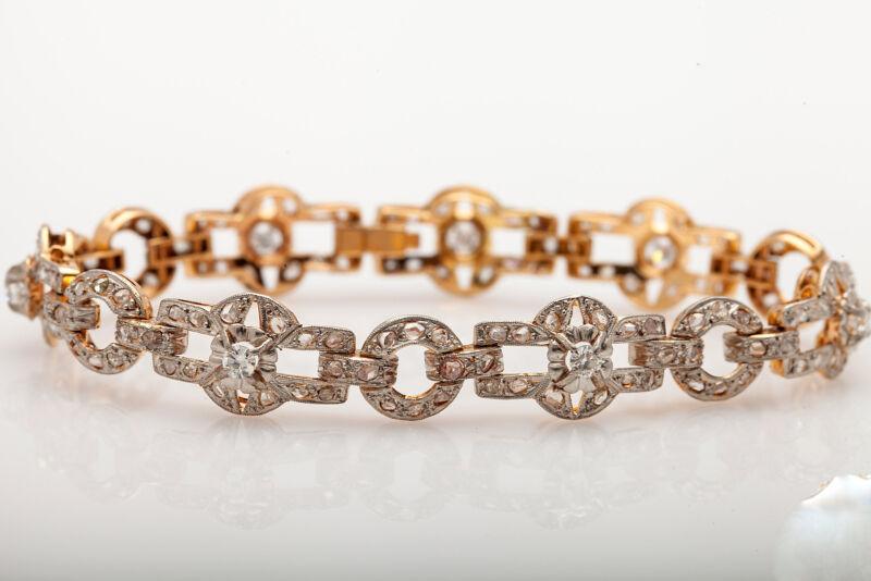 Antique 1940s $10k 4ct Old Cut Diamond 18k Yellow Gold Platinum Dress Bracelet