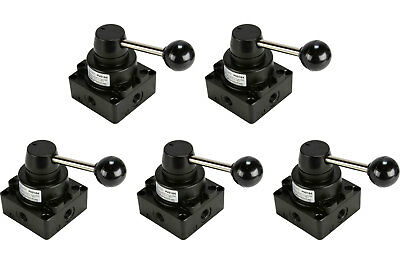5x Cc Rotary Lever Pneumatic Control Valve 4 Port 4 Way 3 Position 14 Npt