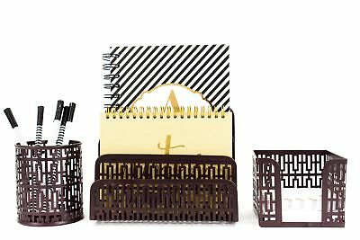 Blu Monaco Desk Organizer Office Accessories Set - Letter Sorter Pencil Cas...