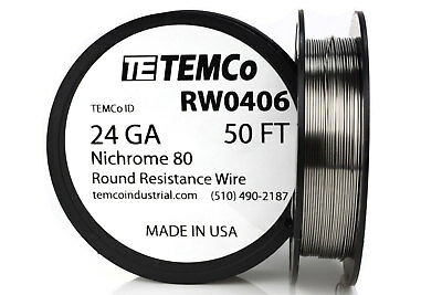 Temco Nichrome 80 Series Wire 24 Gauge 50 Ft Resistance Awg Ga