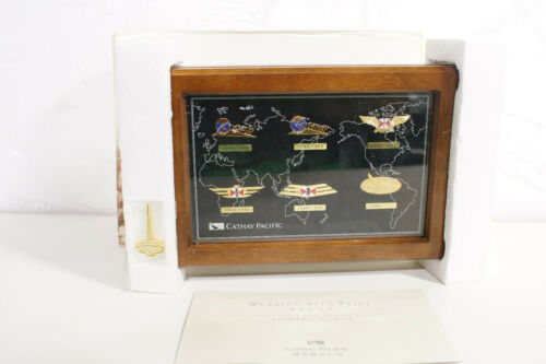 NEW Cathay Pacific Badge Collection 1946-99 Flight Attendant Uniform Pin & Case
